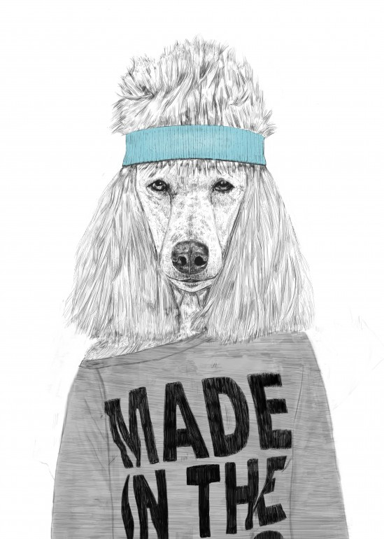 80's bitch, dog, poodle, animal, fashion, 80s, drawing, humor