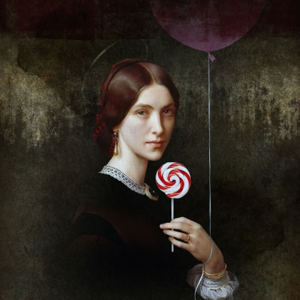 Portrait of Woman with Lollipop and Balloon