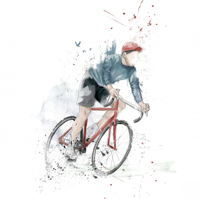 I want to ride my bicycle, sport, bike, cylcing, bicycle, painting, watercolour