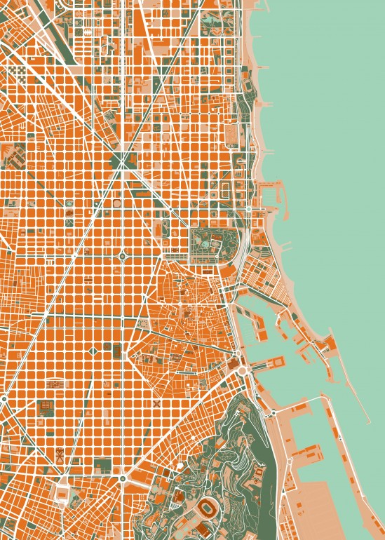 Barcelona orange, barcelona, spain, mapa, map, maps, city, cities, travel, places, cityscape, architecture, urban, mapping, urbanism
