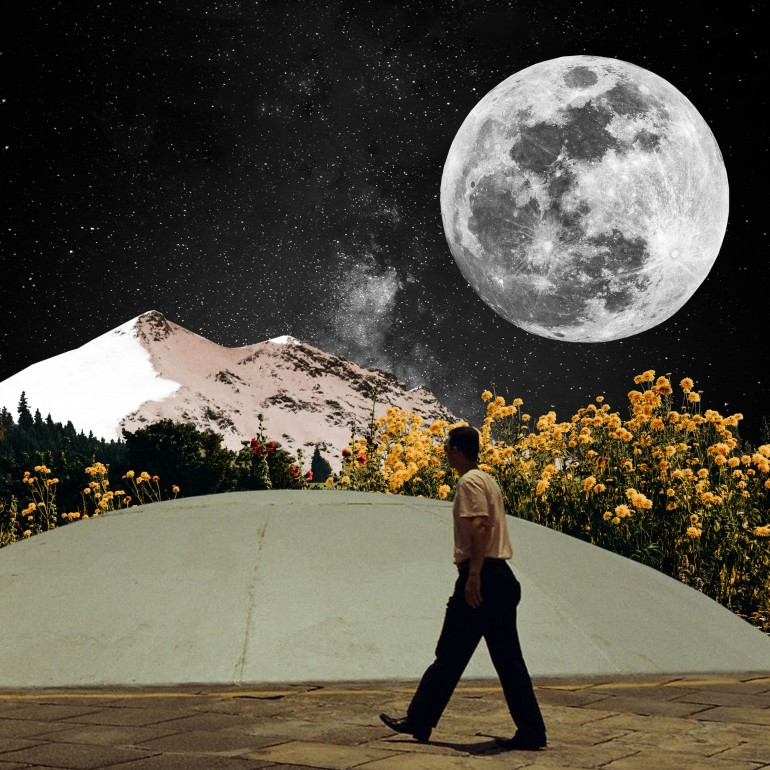 walk under the moon, men, walk, moon, flower