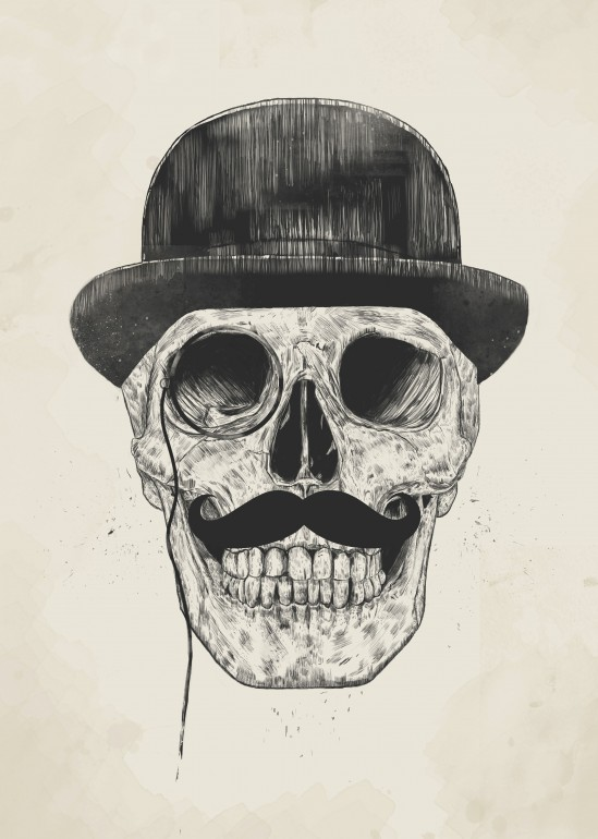 Gentlemen never die, skull, moustache, hat, gentleman, drawing, ink, humor, funny