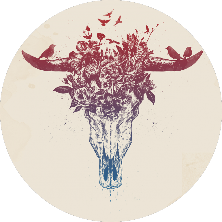 Dead summer, bull, skull, animals, flowers, floral, nature, drawing, ink, tattoo