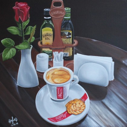 Coffee still life with rose and olive oil