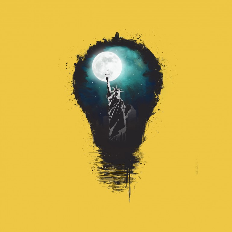 New York City Lights, usa, america, united states, lights, bulb, moon, night, statue of liberty, humor, funny