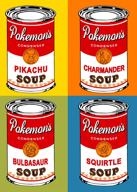 Pop soup can, pokemon, pokemon go, nintendo, video game, app, warhol soup, pokeball