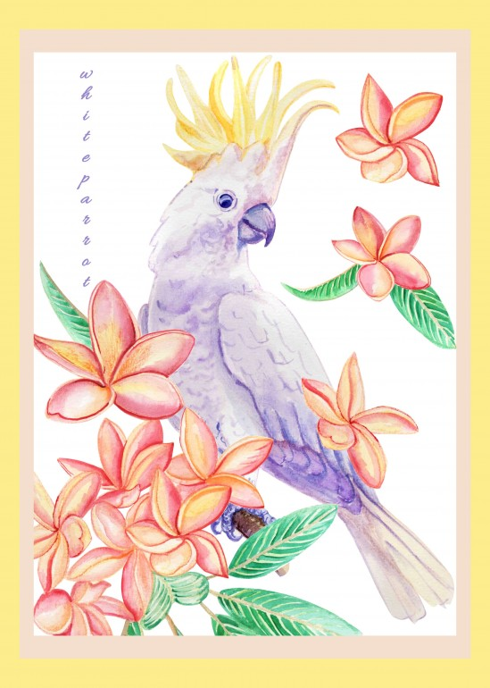 White parrot, white parrot, olarium, watercolor flowers, flowers, tropical animal, wild animal, tropical flowers, tropical plants