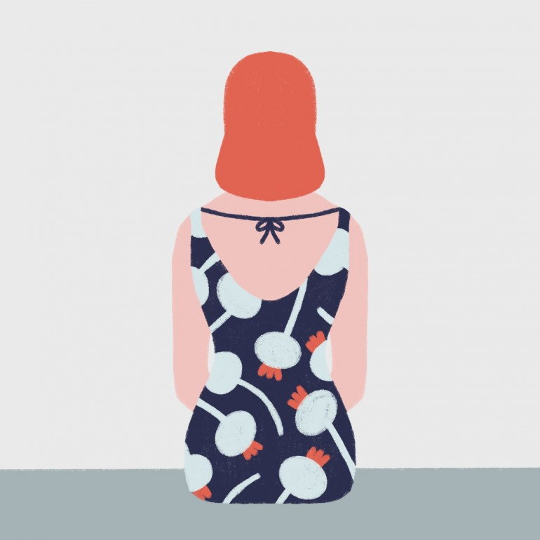 Red head girl, Pattern, girl, red head, flowers