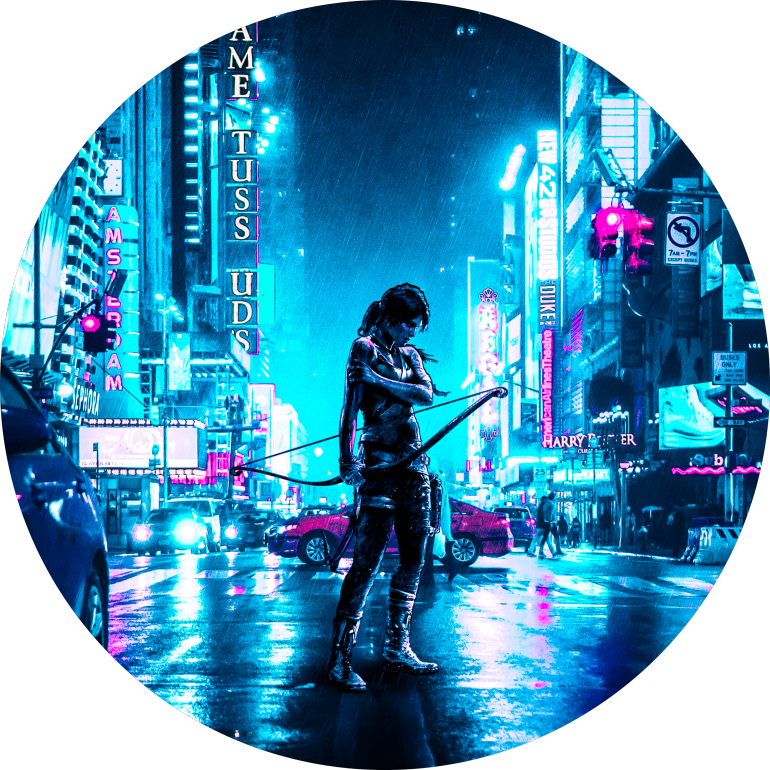Cyberpunk Lara, cyberpunk, 2077, tower, lover, neon, lights, tech, city, lara, croft, tomb, raider, rain