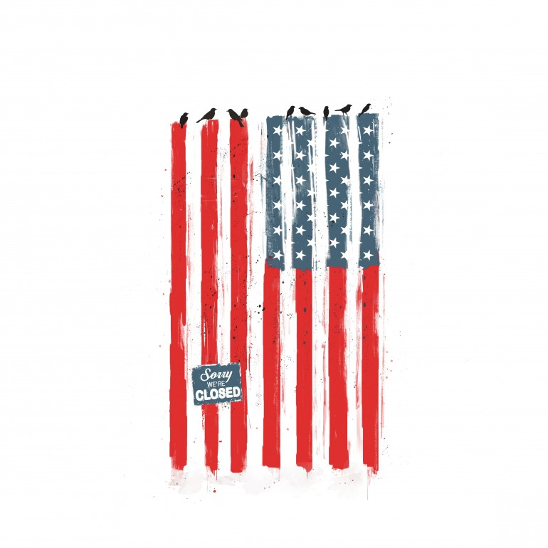 Sorry We're Closed, usa, united states, america, flag, humor, funny, painting, watercolour