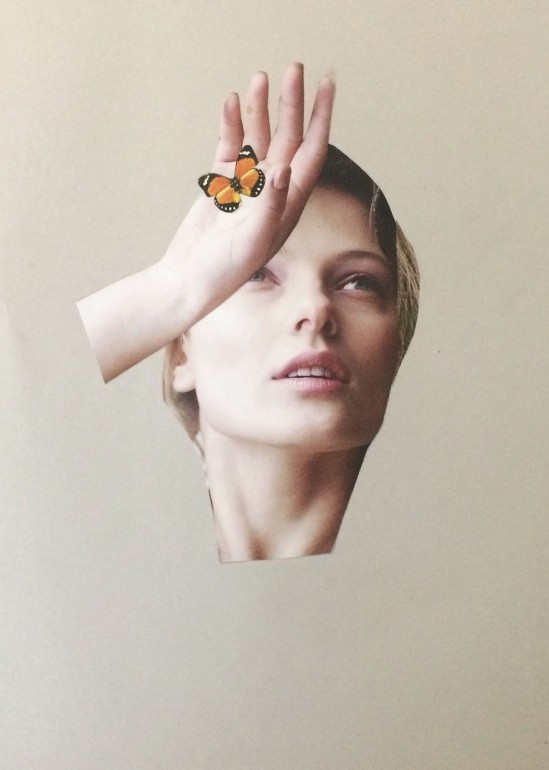 poster, collage, pocter, womanface, butterfly