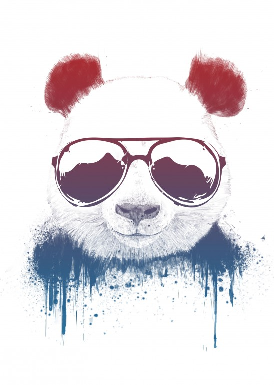 Stay Cool II, panda, animals, sunglasses, summer, summervibes, bear, wildlife, nature, cool, humor, funny, cute, drawing, graffiti, illustration