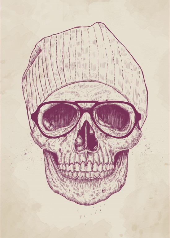 Cool skull, skull, hipster, drawing, ink, humor, funny, glasses, hat, skull-art, art, illustration
