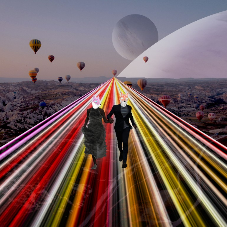 Together We Made It, Collage, Digital-manipulation, Couple, Romance, Neon, Light-road, Beautiful, Ravenstown, Digital-collage, Fox, Vulpes, Future, Road, Futuristic, Surreal, Digital-art, Planet, Hot-air-balloon, Balloons, Travel