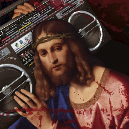 Jesus Christ Carrying a Cassette Recorder