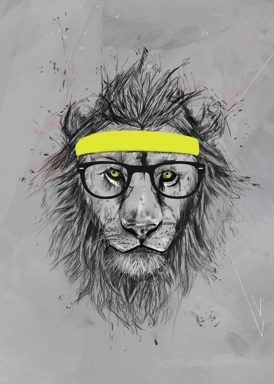 Hipster lion, lion, animal, drawing, headband, sport, humor, funny, glasses