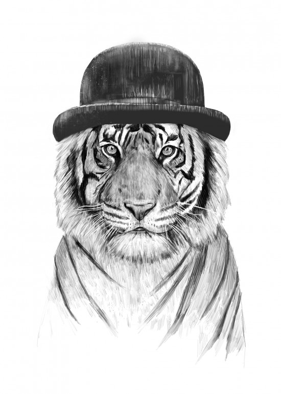 Welcome to the jungle, tiger, animal, drawing, hat, black and white, London, british, humor, funny, art, illustration