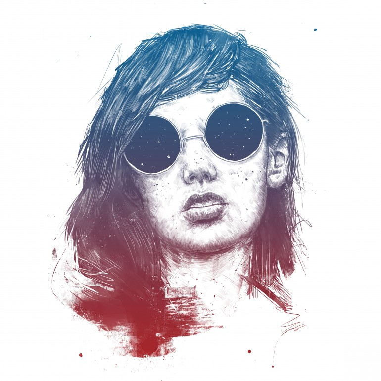 Summer Nights, girl, face, portrait, drawing, ink, summer, night, sunglasses, space, cool