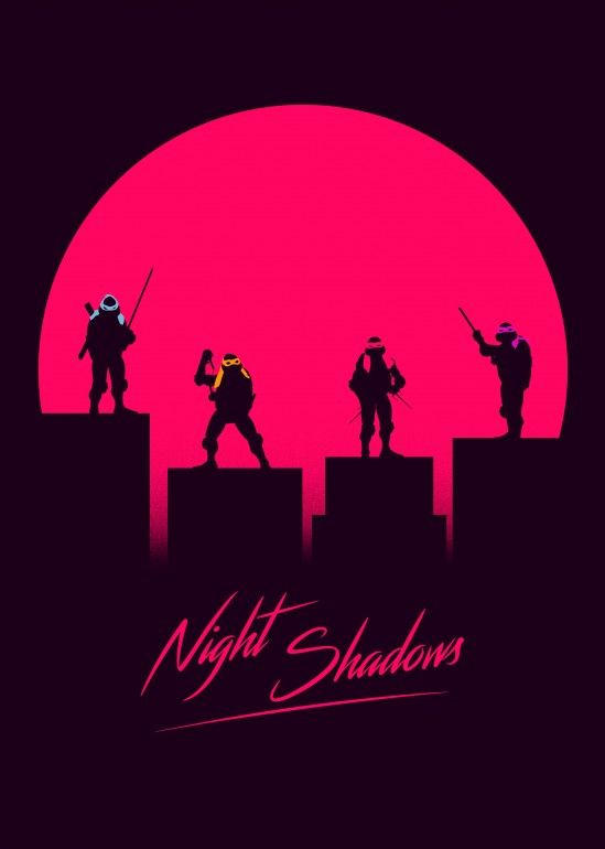 Retro  Shadows, tmnt, ninja turtles, neon, retro, rad