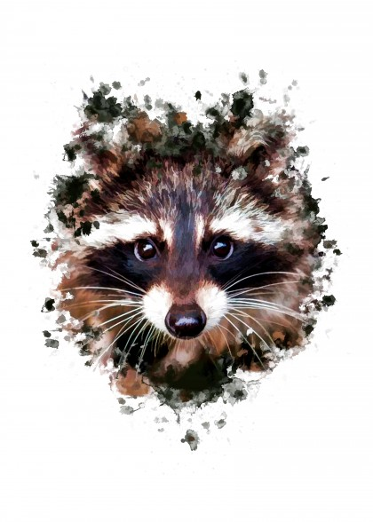 Raccoon Splatter Painting
