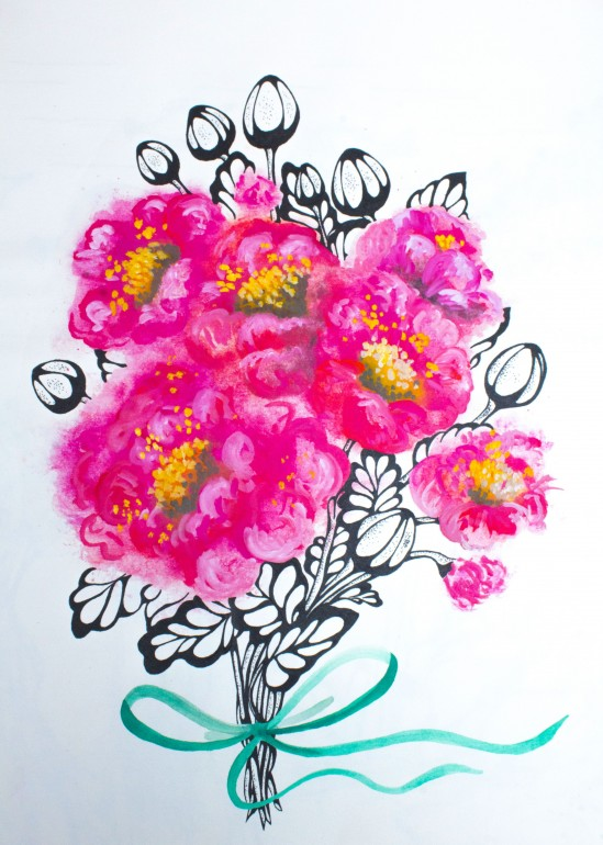 The pink bouquet, pink, flowers, bouquet, peony, watercolor